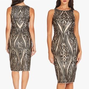NWT Adrianna Papell Halter Short Dress - Champagne